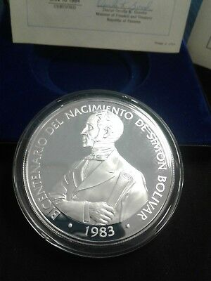 1983  Panama 20 Balboa  Proof coin 119.9 grams of 50% Silver with Box & COA