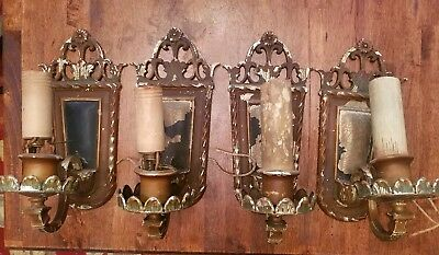 Antique Ornate Cast Iron Wall Light/Lamp Sconces Old & Original  Metal Lot of 4