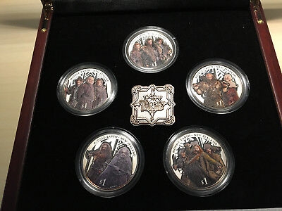 The Hobbit silver coins - The Company of Thorin Oakenshield, 5 x 1 Dollar farbig