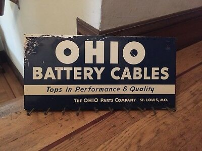 Vintage Ohio Battery Cables Advertising Sign Service Gas Station Store Display