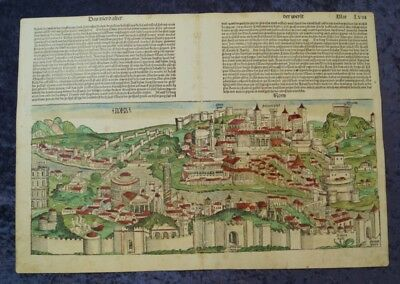 Roma Italy Big View Oldcoloured Woodcut Schedel Leaf Lxii + Lxiii 1493 #c061