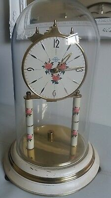 "Vintage "" Haller "" Quality German 400 Day Anniversary Clock With Glass Dome."