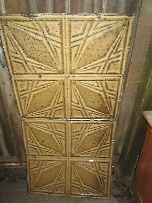 "Antique Ceiling Tin 24"" x 48"" Piece Architectural Salvage Chippy tan brown Paint"
