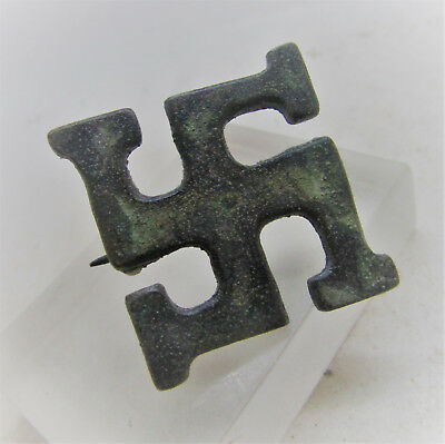 Scarce Circa 300-400Ad Ancient Roman Era Bronze Svvatstika Brooch