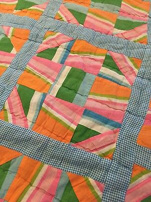 Vintage 1960s Monkey Wrench Quilt, Quirky Color Combos, Floral Back