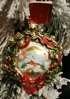 Vintage Bombay European Blown Glass Christmas Wreath Ornament, Winter Log Cabin