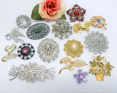 Rhinestone Accented Fashion Jewelry Brooch Lot Vintage To Now