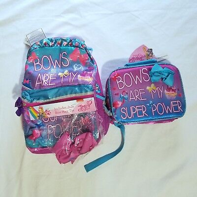 """JoJo Siwa """"Bows are My Super Power"""" Backpack and Lunchbox Set NEW"""