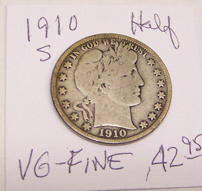 1910 S Barber Half Dollar-VERY GOOD to FINE