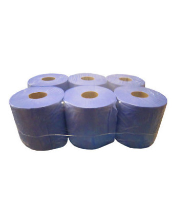 6 Rolls Grey Blue Paper Tissue Towel Wipe Embossed 2 Ply 2ply Absorbent
