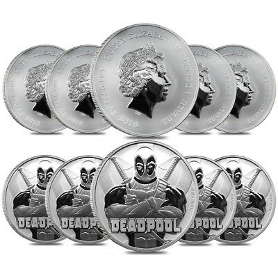 Lot of 10 - 2018 1 oz Tuvalu Deadpool Marvel Series Silver Coin BU In Cap