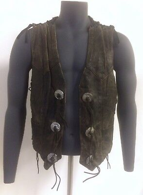 Vintage Hard Leather Stuff Faded Black Waistcoat Vest Biker Motorcycle Size M
