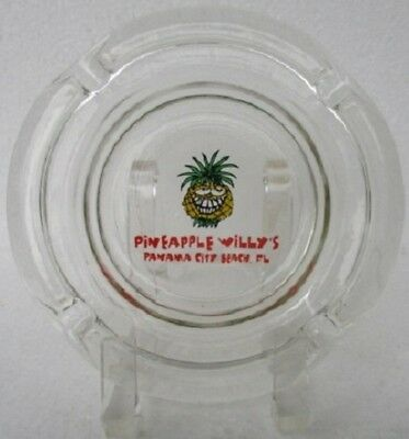 PINEAPPLE WILLY'S Restaurant ADVERTISING GLASS ASHTRAY Panama City Beach, FL