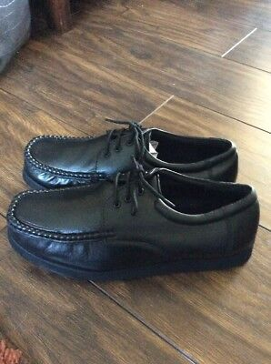 Easylife Mens Black Soft Leather Lace Up Loafers Shoes Uk 9
