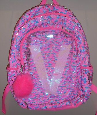 Justice Girls Initial V Backpack Bookbag Reversible Flip Sequins Pink New