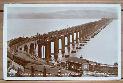 """VINTAGE POSTCARD FROM SCOTLAND """"Tay bridge from the south"""" Dundee"""