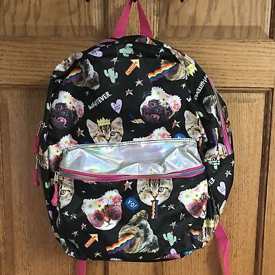 "Emojination Snapcat Backpack 16"" School Book Bag Tote Full Size New With Tags"