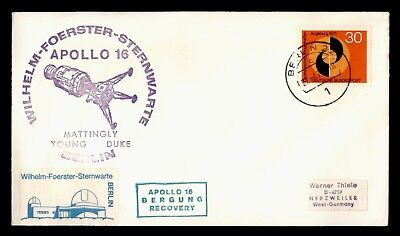 DR WHO 1970S GERMANY SPACE APOLLO 16 RECOVERY CACHET  d57020
