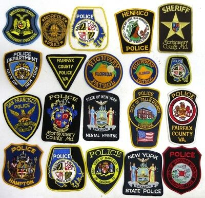 Lot of 20 Police Shoulder Patches all Different NOS Police Sheriff State Police