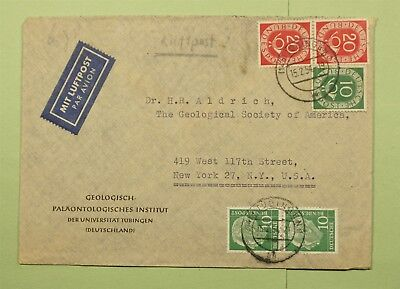 Dr Who 1954 Germany Tubingen To Usa Air Mail C53681