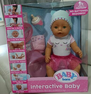 Baby Doll - Baby Born Interactive Baby with Accessories Green Eyes - Zapf - NEW