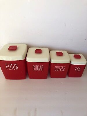 Vintage 1960's/70's Flour/Sugar/Coffee/Tea Plastic Canisters - Red & White