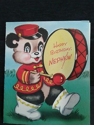 Bear Beating Drums Open Card Bear Band Happy Birthday Nephew Vintage Card