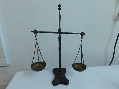 """Antique Cast Balance Apothecary Gold Scale 14 1/2""""  With Brass Trays"""