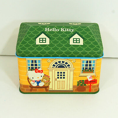 Hello Kitty Hinged Tin House Shaped Yellow w/Green Roof Sanrio Co 1976 2000