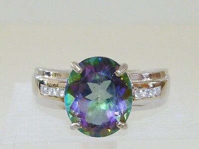 GENUINE 5.74ct! Mystic Topaz Ring Solid Sterling Silver 925.