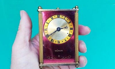 Vintage 1950s Swiss LeCoultre Mirrored Glass 8 day Musical Music Box Alarm Clock