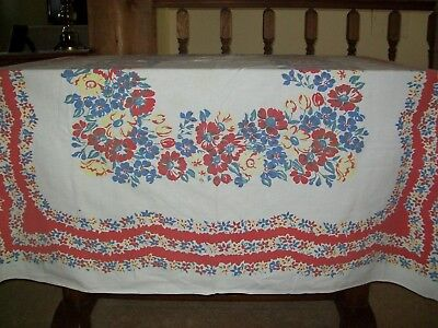 Vintage Tablecloth Assorted Flowers Red, Blue & Yellow