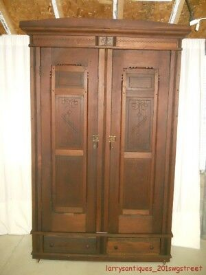 ~Early~ Nice Large Walnut Carved 2-Door Knock Down Wardrobe On Wheels