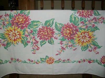 Vintage Tablecloth Bold Flowers