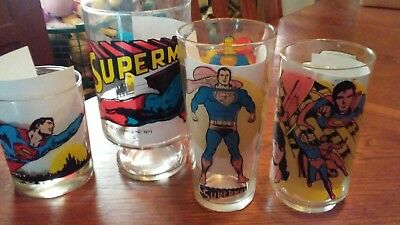 Superman 1970s lot of 4 glasses, different types.