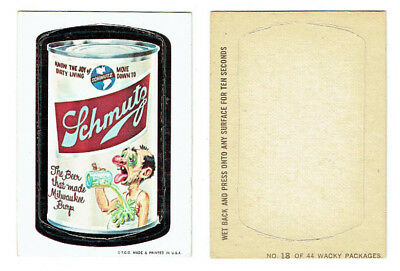1967 Topps Wacky Packages Schmutz Beer Die-Cut Sticker Card #18 Vintage RARE