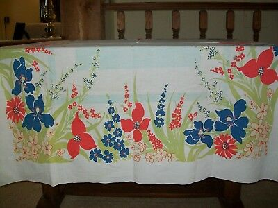 Vintage Tablecloth  Flowers  Blue & Orange