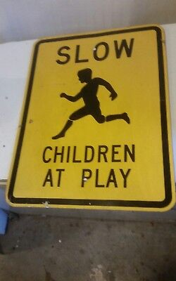 Vintage Original 24x18 Slow Children At Play Metal Sign Street Road Highway