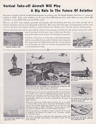 1957 HILLER HELICOPTERS Air Force X-18 & Army H-23 paper w/ envelope VINTAGE