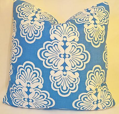 """Lilly Pulitzer Lee Jofa SHELL WE Linen Tide Blue Custom Pillow cover 18""""x18"""""""