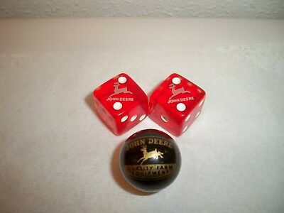 Vintage John Deere Dealer 2 Advertising Dice and 1 John Deere Advertising Marble