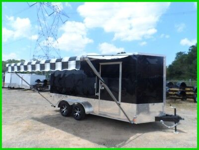 7x16 enclosed motorcycle cargo trailer A/C unit w awning toy hauler camper NEW