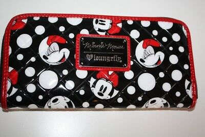 Disney Loungefly Minnie Mouse Black Red White Polka Dot Quilted Vinyl Zip Wallet