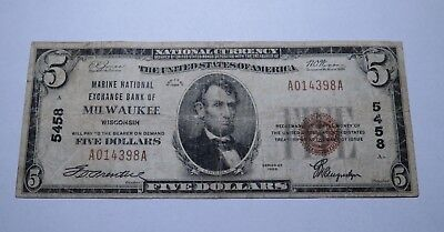 $5 1929 Milwaukee Wisconsin WI National Currency Bank Note Bill Ch. #5458 Fine!