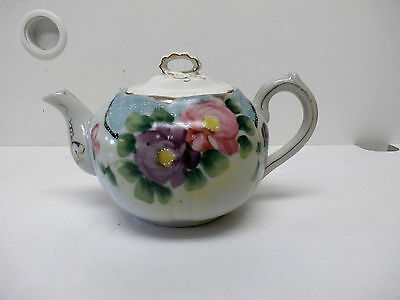 Antique Nippon Handpainted Porcelain Teapot Made in Japan Pastel Floral w/Silver