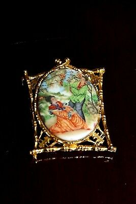 Vintage c1950's RARE Figural ART Signed NYC Oriental Enamel Brooch Pin ModeArt