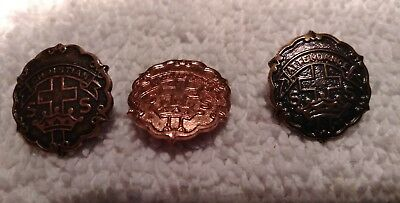 Lot Of 3 Vintage Sunday School Pins Cross And Crown By Uncas