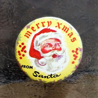 "Vintage Christmas ""Merry Xmas from Santa"" Pinback Button Yellow RARE"