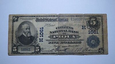$5 1902 Piqua Ohio OH National Currency Bank Note Bill! Ch. #1061 RARE!