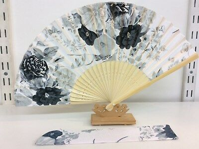 Japanese Silk Hand Fan-Floral Design with Silk Fan Holder - T07-T08